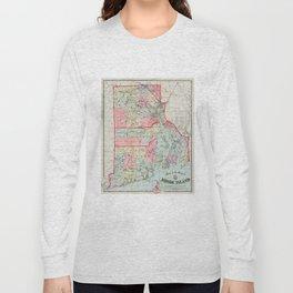 Vintage Map of Rhode Island (1887) Long Sleeve T-shirt