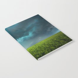 April Showers - Colorful Stormy Sky Over Lush Field in Kansas Notebook