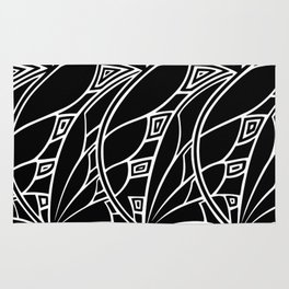 Modern art nouveau tessellations black and white Rug