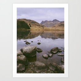 langdale pikes and a frozen blea tarn in winter. lake district, uk Art Print