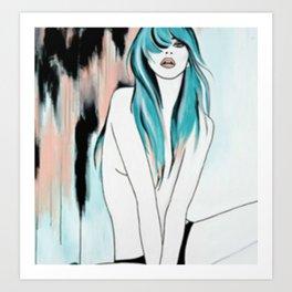 Blue Hair Smudge Art Print