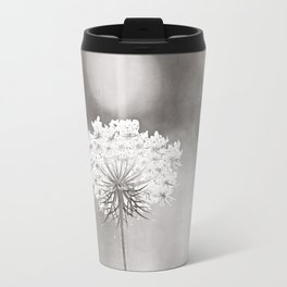 """Black and White Nature Photography, Queen Anne's Lace Grey Photo, Floral Print, """"Dreamy"""" Travel Mug"""