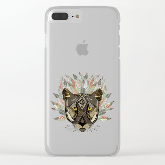 native mountain lion blue Clear iPhone Case