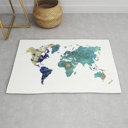 World Map Wind Rose Rug