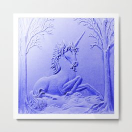 Purple Unicorn Solitude Metal Print