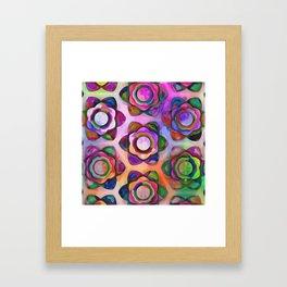 Rainbow Chunky Flowers Framed Art Print
