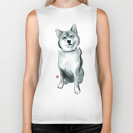 The Perfect Shiba Inu, Sumi-e Wabi Sabi Ink Biker Tank