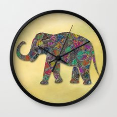 Animal Mosaic - The Elephant Wall Clock