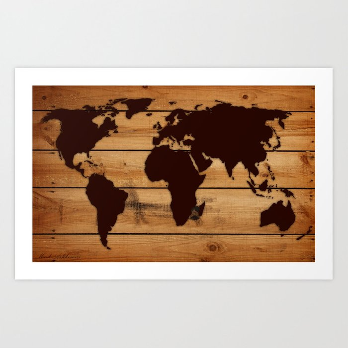 map world wood Art Print