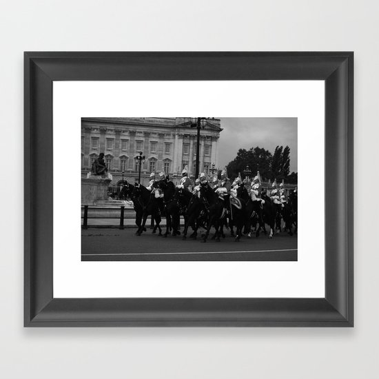 The Guards and Buckingham Palace b&w Framed Art Print