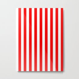Narrow Vertical Stripes - White and Red Metal Print