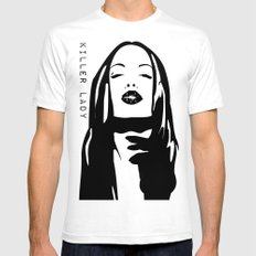 KILLER LADY LOGO TWO  SMALL White Mens Fitted Tee
