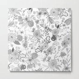 Abstract black white rustic modern floral illustration Metal Print