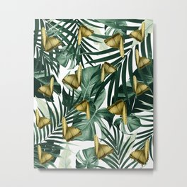 Tropical Butterfly Jungle Leaves Pattern #3 #tropical #decor #art #society6 Metal Print