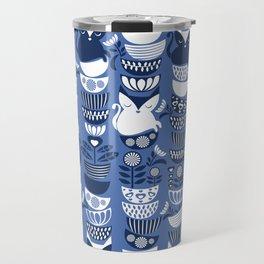 Swedish folk cats I // Indigo blue background Travel Mug