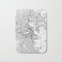 Boston White Map Bath Mat