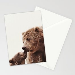 Woodlands Nursery Decor, Bear Mother Print, Baby Bear Print Stationery Cards