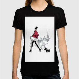 Just Walking Her Dog - Chic Parisian Girl in Red Jacket T-shirt