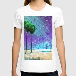 Venice Vaporwave Beach Meteor Light Show T-shirt