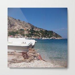 Chained boat - Zakynthos, Greece Metal Print