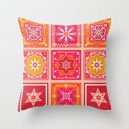 Talavera Mexican Tile – Hot Pink & Orange Palette Throw Pillow