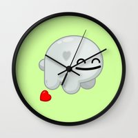 snatch Wall Clocks featuring Lovestruck Lump by Shawnimals