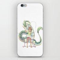 chihiro iPhone & iPod Skins featuring Chihiro and Haku by CromMorc