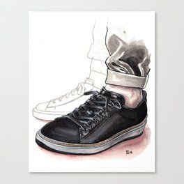 Black Leather Sneaker Canvas Print