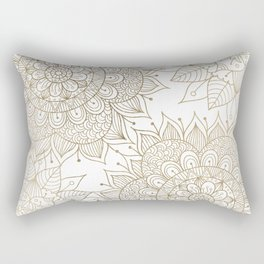 Elegant faux gold white spiritual floral mandala Rectangular Pillow