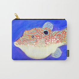 Blue Spotted Orange Toby Puffer Carry-All Pouch