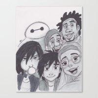 big hero 6 Canvas Prints featuring Big Hero 6 Selfie by Alice's Art