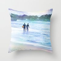 boys Throw Pillows featuring Surfer Boys by Teresa Chipperfield Studios