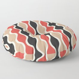 Ogee Pattern 742 Black Beige and Red Floor Pillow