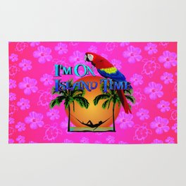 Pink Hibiscus Island Time And Parrot Rug
