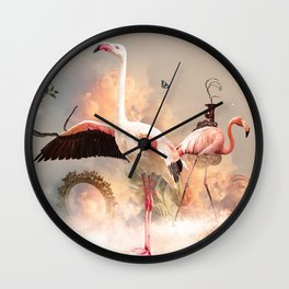 Flamingo land Wall Clock