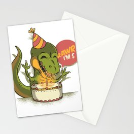 T Rex Birthday Party RAWR I'm 5 Dinosaur Stationery Cards