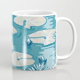 Monets Waterlily Pattern — Teal Coffee Mug