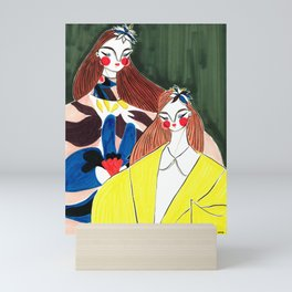 Portrait of the Birds – Delpozo Girls in Fall 2018 Looks no. 2 – Fashion Illustration Mini Art Print
