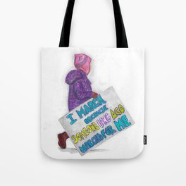 Women's March Pussyhat Girl Protester Tote Bag