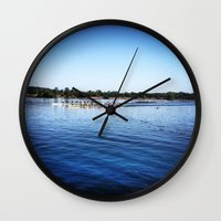 animal crew Wall Clocks featuring Crew  by Lindsay Jackson-Moses