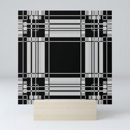Black and Gray Modern Tartan Plaid 2 Mini Art Print