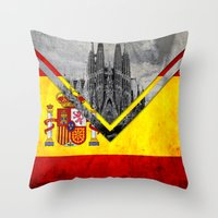 spain Throw Pillows featuring Flags - Spain by Ale Ibanez