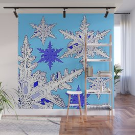 BEAUTIFUL BLUE & WHITE SNOW CRYSTALS  DESIGN Wall Mural