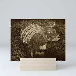 African deer sepia scratch board by katy christoff Mini Art Print