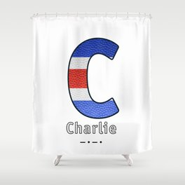 Charlie - Navy Code Shower Curtain