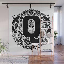 Letter Q monogram wildwood Wall Mural