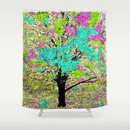 TREES PINK AND GREEN ABSTRACT Shower Curtain