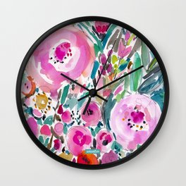 Pink Pow Wow Abstract Painterly Floral Wall Clock