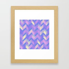 Purple Blue and Yellow Chevron Zigzag Stripes Framed Art Print