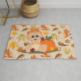 Fall Pumpkin Girl Rug